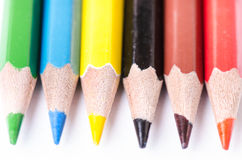 Colour pencil  on a white background. Lines of pencils. Education concept. Stock Images