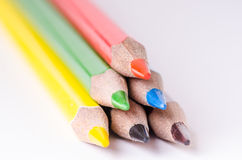 Colour pencil  on a white background. Lines of pencils. Education concept. Stock Photo