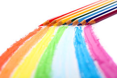 Colour pencils. On a white sheet of paper stock images