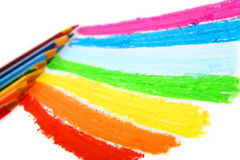Colour pencils. On a white sheet of paper stock photography