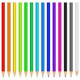 Colour pencils. Set of 14 colour pencils Stock Photo
