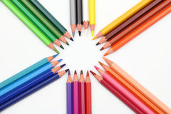 Colour pencils. On the white background stock illustration