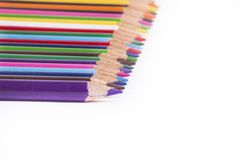 Colour pencils. Lined up in a white background Stock Image