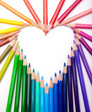Colour Pencils. Heart shape made from colour pencils Royalty Free Stock Image