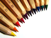 Colour pencils. Set of professional colored pencils Royalty Free Stock Photos