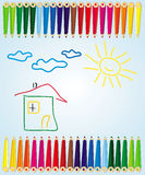 Colour pencils. Vector illustration of colour pencils drawing Royalty Free Stock Images