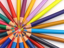 Colour Pencils. Arranged in a circle royalty free stock photo