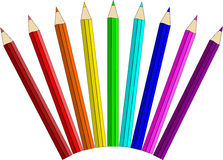 Colour pencils. On a white background stock illustration