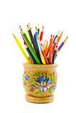 Colour pencils. Color pencils in a bright support the isolated Stock Photography