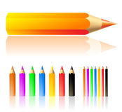 Colour pencils. Lots of colour pencils isolated on white stock illustration