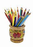 Colour pencils. Pencils in bright wooden bank isolated on a white background Royalty Free Stock Images