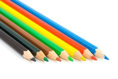 Colour pencils. Seven colour pencils isolated on white background royalty free stock photos