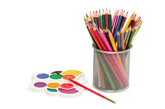 Colour Pencils And Watercolor Stock Photography