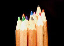 Colour pencils on the black background Stock Photography