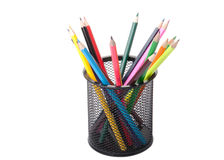 Colour pencils in a black holder Royalty Free Stock Photos