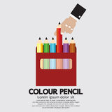Colour Pencils. In The Box Vector Illustration royalty free illustration