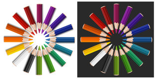 Colour pencils in circle Stock Photos