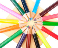 Colour pencils in circle Royalty Free Stock Photography