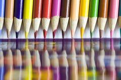 Colour pencils close up Stock Images