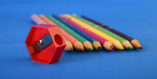 Colour pencils  close up Royalty Free Stock Images