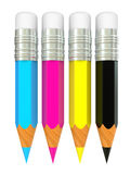 Colour pencils cmyk Stock Photography