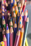 Colour pencils. Colored pencils for drawing in a box stock images