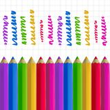 Colour pencils on copy-book paper. Colour pencils and colorful strokes on copy-book paper background. Education and creativity concept. Vector illustration Royalty Free Stock Photography