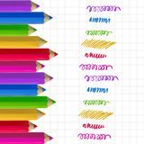 Colour pencils on copy-book paper. Colour pencils and colorful strokes on copy-book paper background. Education and creativity concept. Vector illustration Royalty Free Stock Images