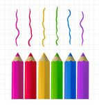 Colour pencils on copy-book paper. Colour pencils and colorful strokes on copy-book paper background. Education and creativity concept. Vector illustration Royalty Free Stock Photos