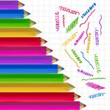Colour pencils on copy-book paper. Colour pencils and colorful strokes on copy-book paper background. Education and creativity concept. Vector illustration Stock Photo