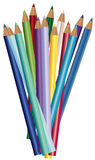 Colour pencils, crayons set on white background.  royalty free illustration