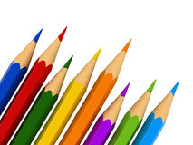 Colour pencils. 3d render of colour pencils isolated over white background royalty free illustration