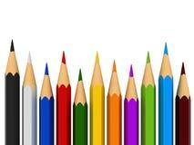 Colour pencils. 3d render of colour pencils over white background stock illustration