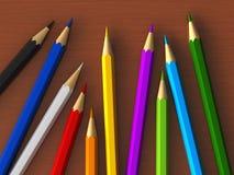 Colour pencils. 3d render of colour pencils over wooden table stock illustration