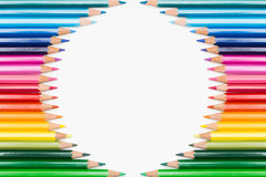 Colour pencils displayed in circle Royalty Free Stock Photography