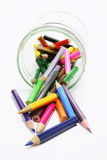 Colour Pencils in Glass Jar Royalty Free Stock Images