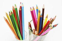 Colour Pencils in Glasses Stock Photography