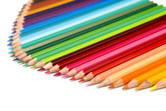 Colour Pencils. A group of colourful colour pencils lined up in a fan configuration Stock Photo