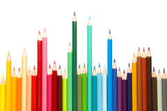 Colour Pencils. A group of colourful colour pencils lined up side by side Royalty Free Stock Images