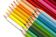 Colour Pencils. A group of colourful colour pencils lined up side by side Stock Images