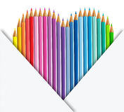 Colour pencils heart shape and paper set Royalty Free Stock Photos