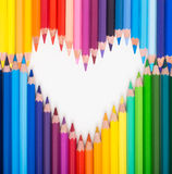 Colour pencils. Heart shape Stock Photo