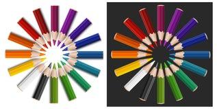 Colour Pencils In Circle Stock Photos