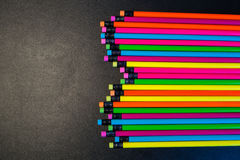Colour pencils isolated on black background Royalty Free Stock Image