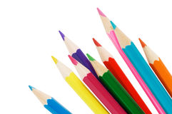 Colour pencils isolated over white Royalty Free Stock Photo