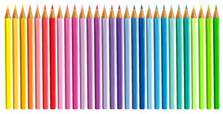 Colour pencils isolated and separated on white background opened Stock Images