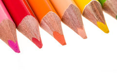 Colour pencils isolated on white Royalty Free Stock Photos