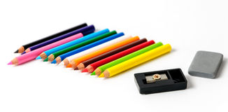 Colour pencils. Isolated on white background Stock Images