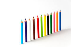Colour pencils. Isolated on white background Royalty Free Stock Images