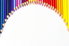 Colour pencils isolated on white background.  royalty free stock photography